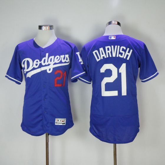 Men Los Angeles Dodgers 21 Yu Darvish Blue Elite MLB Jerseys