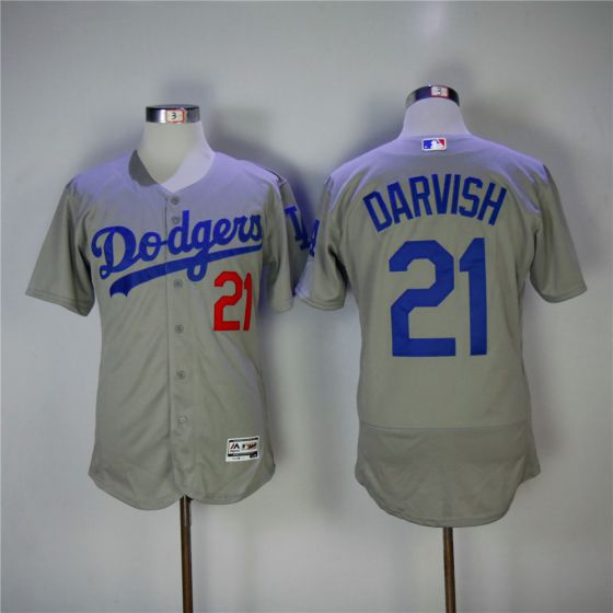 Men Los Angeles Dodgers 21 Yu Darvish Grey Elite MLB Jerseys