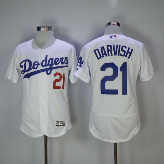 Men Los Angeles Dodgers 21 Yu Darvish White Elite MLB Jerseys
