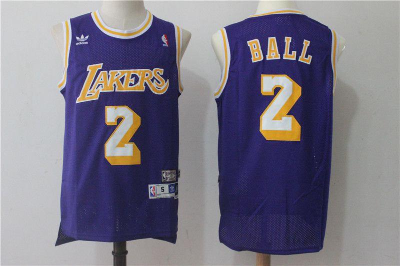 Men Los Angeles Lakers 2 Lonzo Ball Purple throwback NBA Jerseys