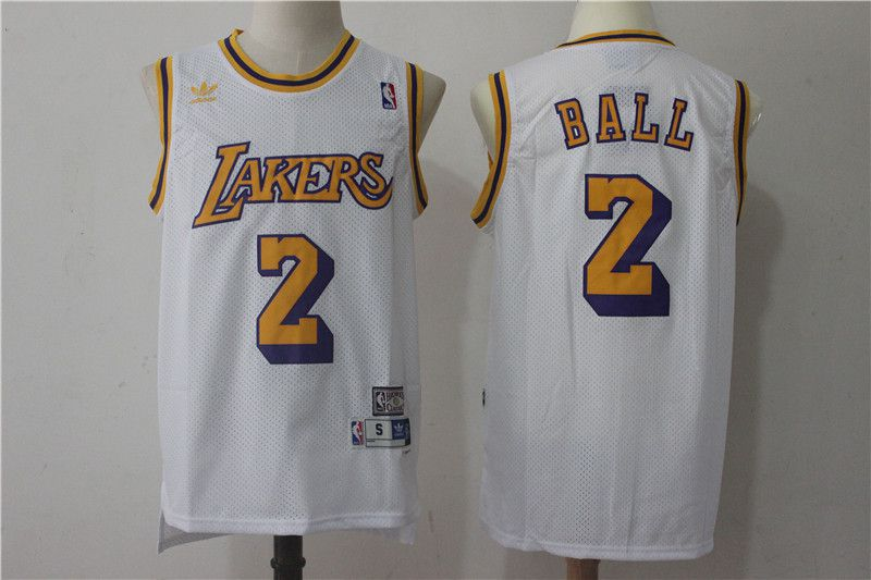 Men Los Angeles Lakers 2 Lonzo Ball White throwback NBA Jerseys