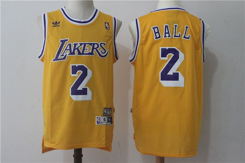 Men Los Angeles Lakers 2 Lonzo Ball Yellow throwback NBA Jerseys
