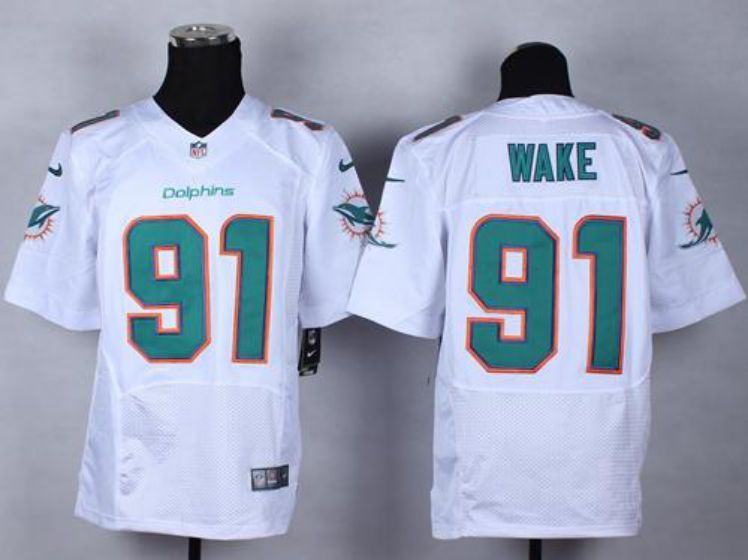 Men Miami Dolphins 91 Wake White Elite Nike NFL Jerseys