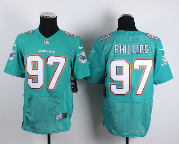 Men Miami Dolphins 97 Jordan Phillips Green Elite Nike NFL Jerseys