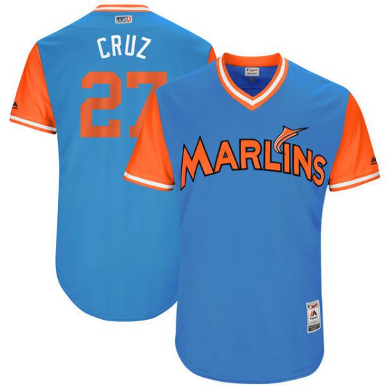 Men Miami Marlins 27 Cruz Light Blue New Rush Limited MLB Jerseys