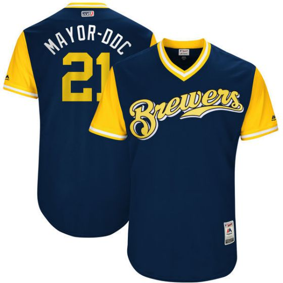 Men Milwaukee Brewers 21 Mayor-ddc Blue New Rush Limited MLB Jerseys
