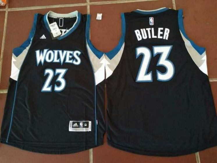 Men Minnesota Timberwolves 23 Jimmy Butler Black NBA Jerseys