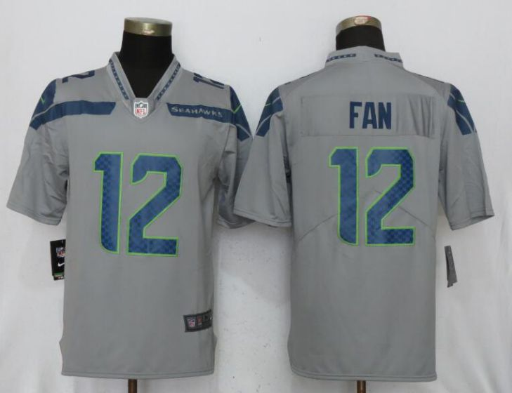 Men NFL Nike Seattle Seahawks 12 Fan Grey 2017 Vapor Untouchable Limited jersey