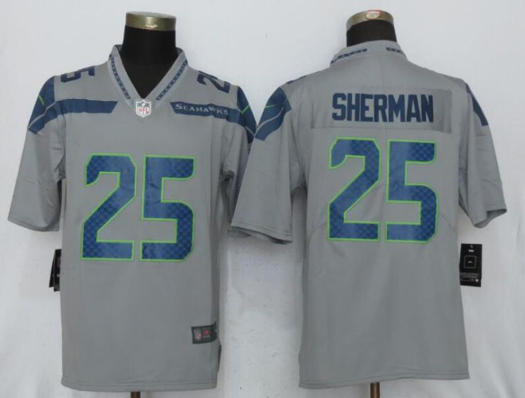 Men NFL Nike Seattle Seahawks 25 Sherman Grey 2017 Vapor Untouchable Limited jersey