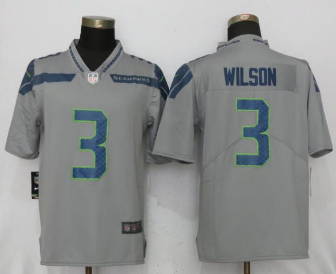 Men NFL Nike Seattle Seahawks 3 Wilson Grey 2017 Vapor Untouchable Limited jersey