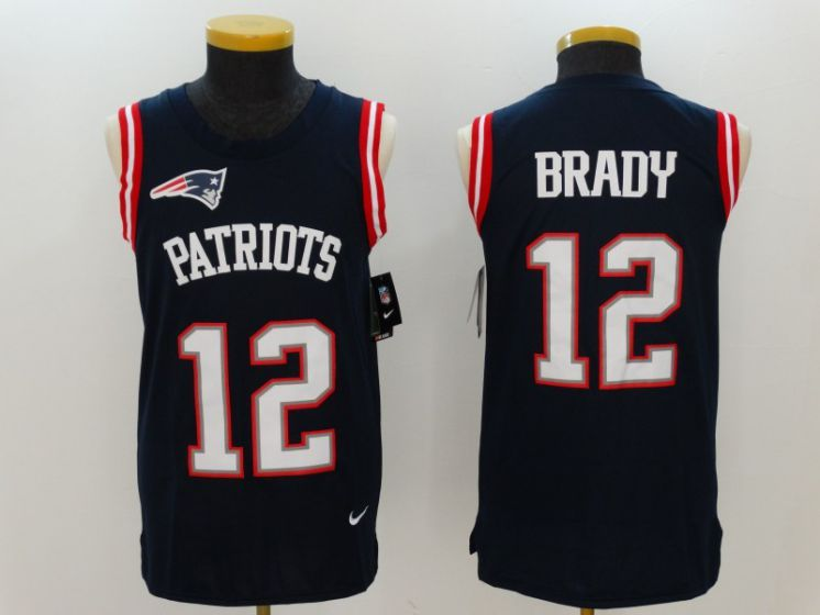 Men New England Patriots 12 Tom Brady Blue Rush Player Name Number Tank Top stitched NFL Jerseys