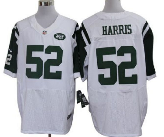 Men New York Jets 52 David Harris White Elite Nike NFL Jerseys