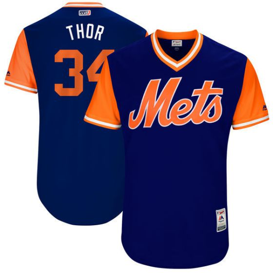 Men New York Mets 34 Thor Blue New Rush Limited MLB Jerseys