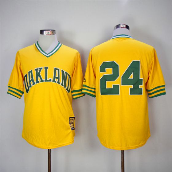Men Oakland Athletics 24 Rickey Henderson Yellow 1981 Game Throwback MLB Jerseys