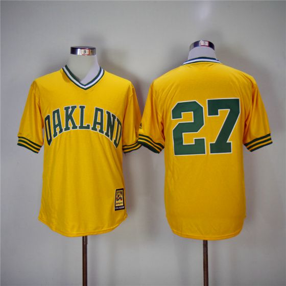 Men Oakland Athletics 27 Catfish Hunter Yellow Throwback MLB Jerseys