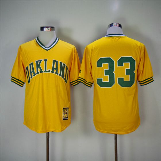 Men Oakland Athletics 33 Jose Canseco Yellow Throwback MLB Jerseys