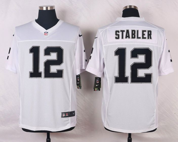 Men Oakland Raiders 12 Kenny Stabler White Elite Nike NFL Jerseys