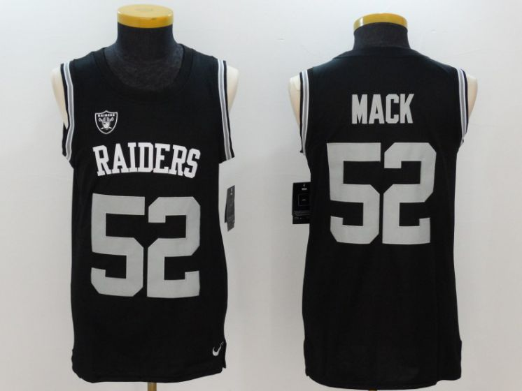 Men Oakland Raiders 52 Khalil Mack Black Rush Player Name Number Tank Top stitched NFL Jerseys
