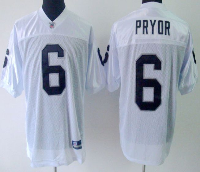 Men Oakland Raiders 6 Pryor White Elite Nike NFL Jerseys
