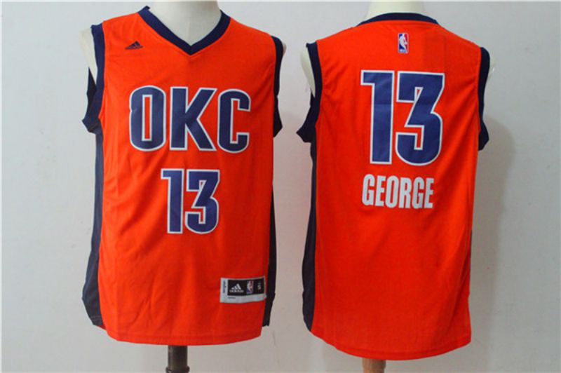 Men Oklahoma City Thunder 13 Paul George Orange NBA Jerseys