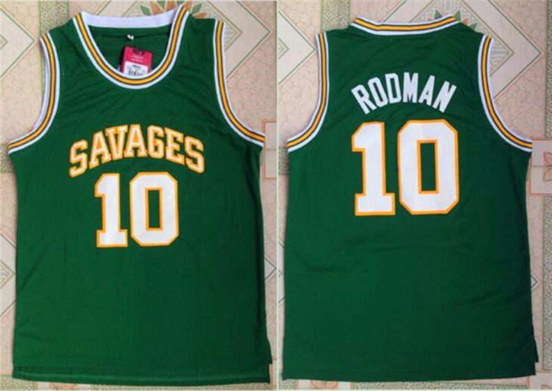 Men Oklahoma Savages 10 Dennis Rodman Green NBA NCAA Jerseys