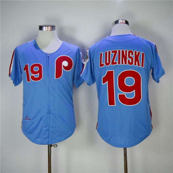 Men Philadelphia Phillies 19 Luzinski Blue 1980 Throwback Edition MLB Jerseys