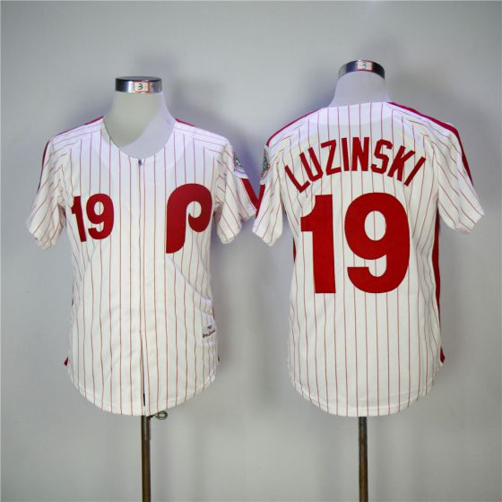 Men Philadelphia Phillies 19 Luzinski Red 1983 Throwback Edition MLB Jerseys