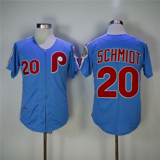 Men Philadelphia Phillies 20 Mike Schmidt Blue 1983 Throwback Zipper Edition MLB Jerseys