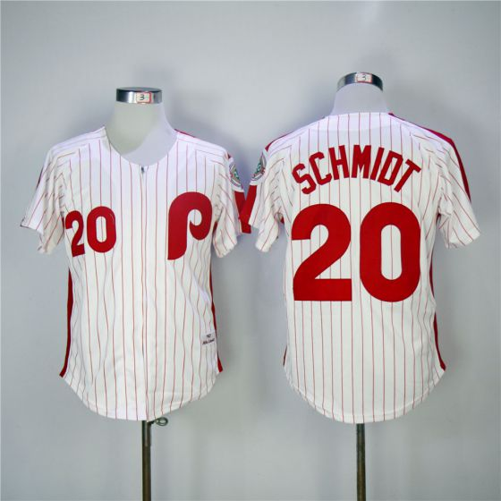 Men Philadelphia Phillies 20 Mike Schmidt Red 1983 Throwback Zipper Edition MLB Jerseys