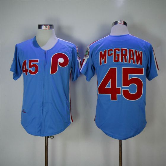Men Philadelphia Phillies 45 Mcgraw Blue 1983 Throwback Zipper Edition MLB Jerseys