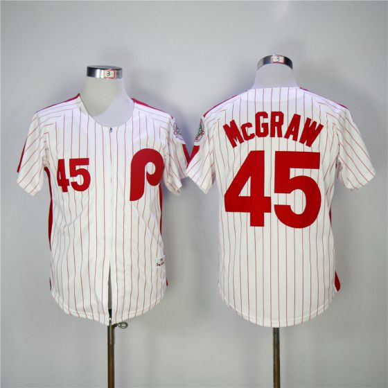 Men Philadelphia Phillies 45 Mcgraw Red 1983 Throwback Zipper Edition MLB Jerseys