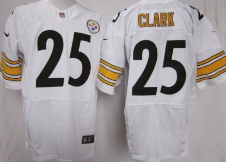 Men Pittsburgh Steelers 25 Ryan Clark White Elite Nike NFL Jerseys