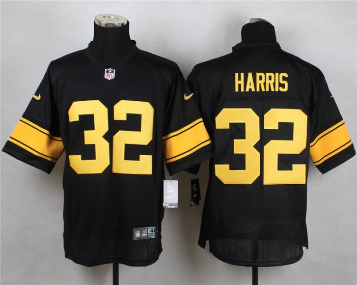 Men Pittsburgh Steelers 32 Franco Harris Black With Yellow Elite Nike NFL Jerseys