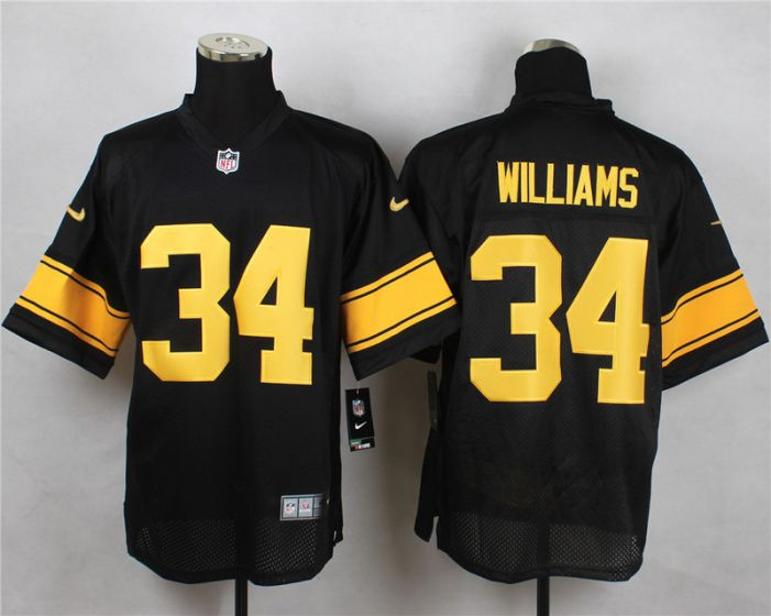 Men Pittsburgh Steelers 34 DeAngelo Williams Black With Yellow Elite Nike NFL Jerseys