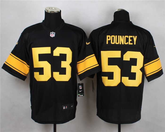 Men Pittsburgh Steelers 53 Maurkice Pouncey Black With Yellow Elite Nike NFL Jerseys