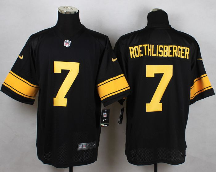 Men Pittsburgh Steelers 7 Ben Roethlisberger Black With Yellow Elite Nike NFL Jerseys