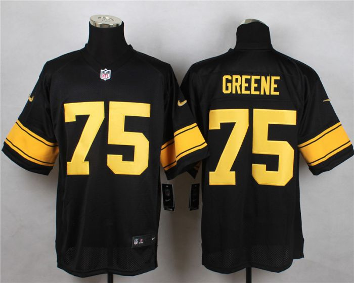 Men Pittsburgh Steelers 75 Greene Black With Yellow Elite Nike NFL Jerseys