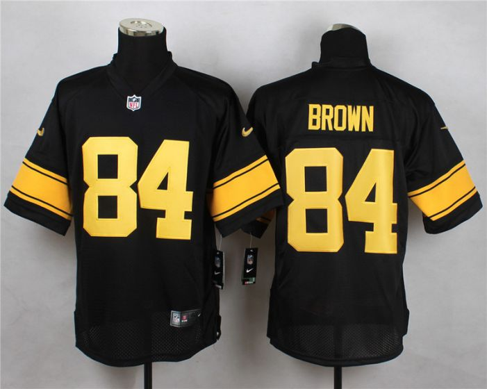 Men Pittsburgh Steelers 84 Antonio Brown Black With Yellow Elite Nike NFL Jerseys