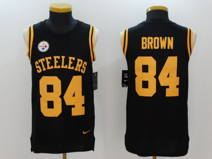 Men Pittsburgh Steelers 84 Brown Black Rush Player Name Number Tank Top stitched NFL Jerseys