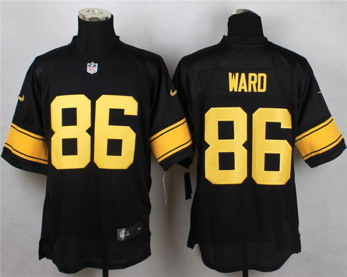Men Pittsburgh Steelers 86 Ward Black With Yellow Elite Nike NFL Jerseys