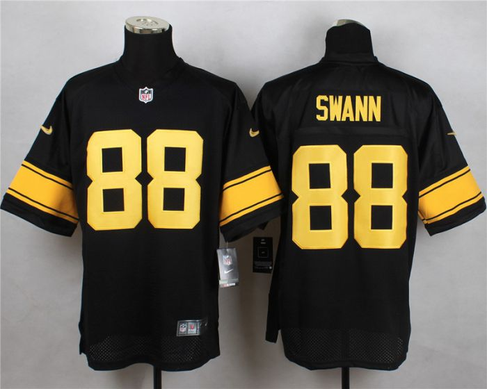 Men Pittsburgh Steelers 88 Lynn Swann Black With Yellow Elite Nike NFL Jerseys