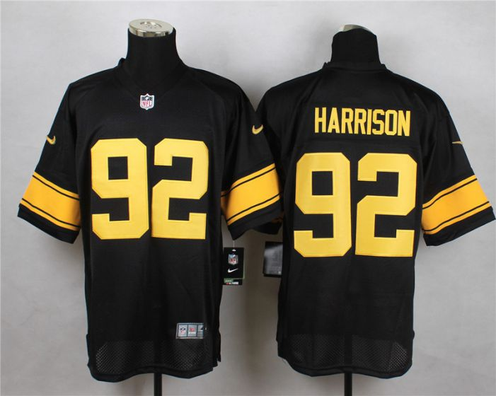Men Pittsburgh Steelers 92 Harrison Black With Yellow Elite Nike NFL Jerseys
