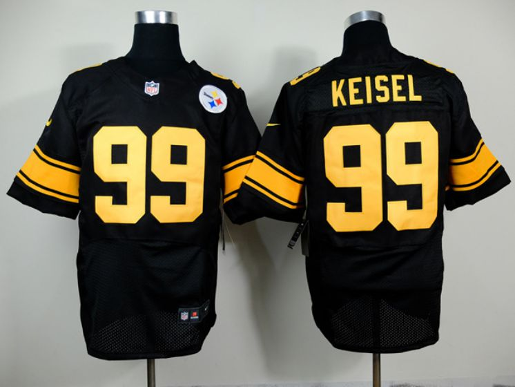 Men Pittsburgh Steelers 99 Keisel Black With Yellow Elite Nike NFL Jerseys