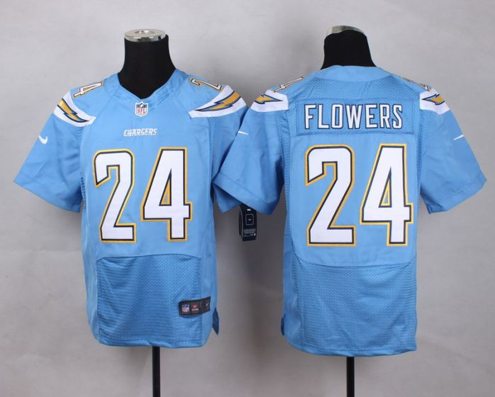 Men San Diego Chargers 24 Brandon Flowers Light Blue Elite Nike NFL Jerseys