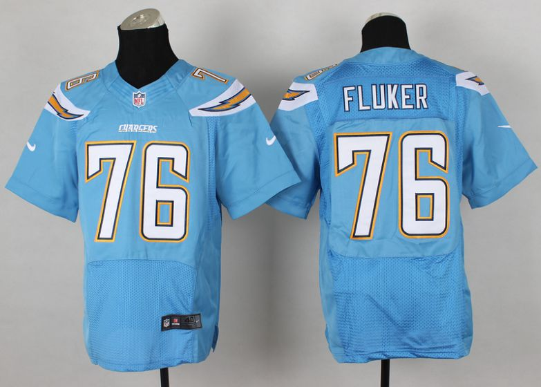Men San Diego Chargers 76 D.J. Fluker Light Blue Elite Nike NFL Jerseys