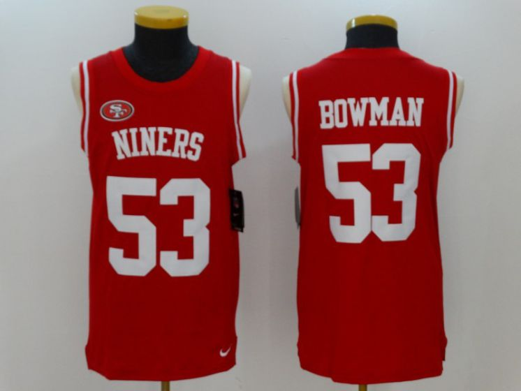 Men San Francisco 49ers 53 NaVorro Bowman Red Rush Player Name Number Tank Top stitched NFL Jerseys
