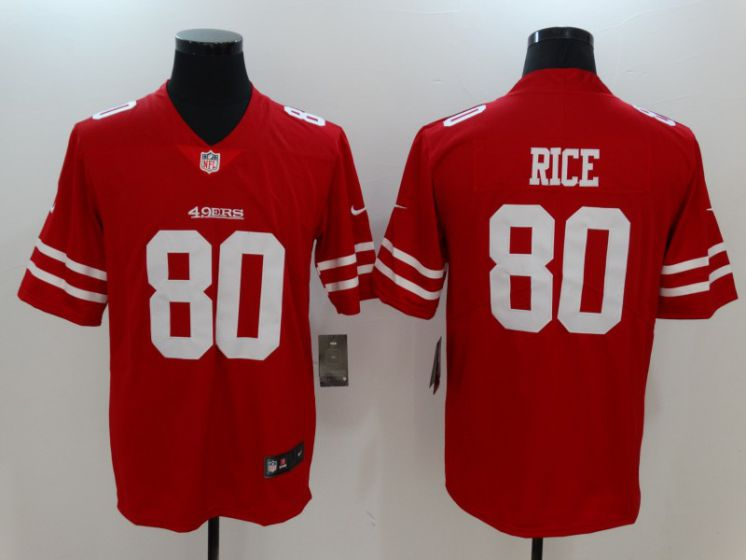 Men San Francisco 49ers 80 Rice Red Nike Vapor Untouchable Limited NFL Jerseys