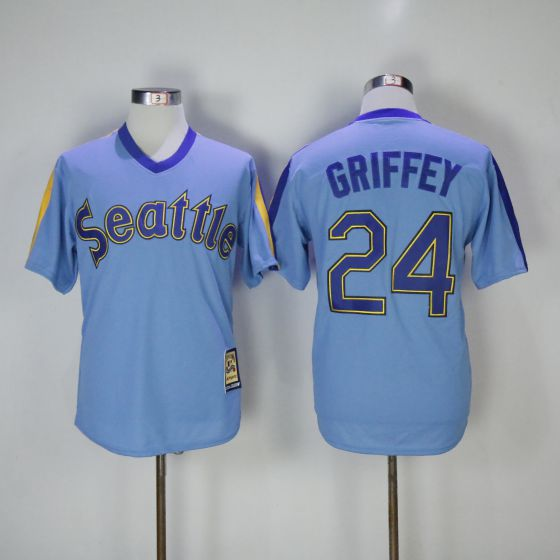 Men Seattle Mariners 24 Ken Griffey Blue Game Throwback MLB Jerseys