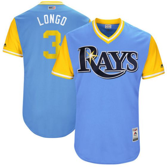 Men Tampa Bay Rays 3 Longo Light Blue New Rush Limited MLB Jerseys