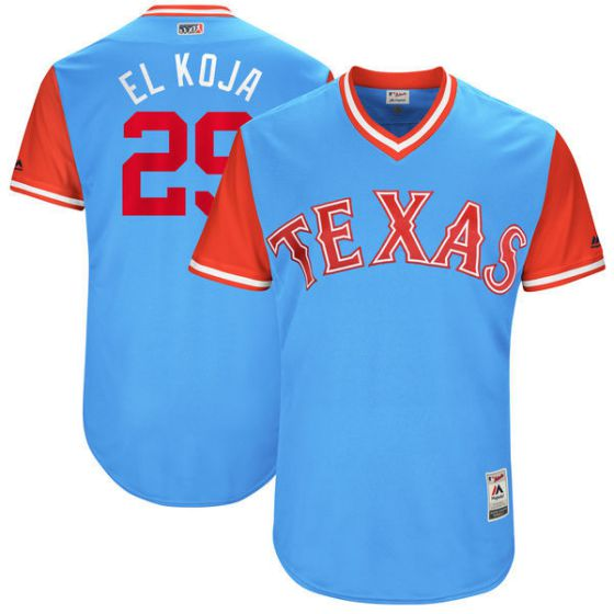 Men Texas Rangers 29 El koja Light Blue New Rush Limited MLB Jerseys